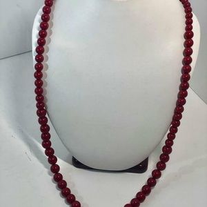 Lucky Jasper Red Stone Long Beaded Necklace #22